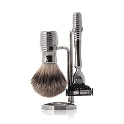 Hans Baier Scheerset 76672 Silberglanz - Silver tip scheerkwast en Gillette nat scheerapparaat