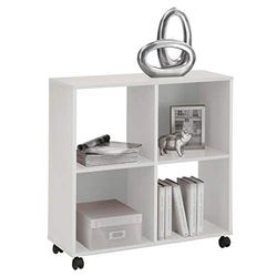 FMD furniture Estantería para Libros con Ruedas, Ideal para Carpetas A4, 72 x 77 x 33 cm, Color Blanco