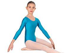 Happy Dance 1005 - kinderen lange mouwen ballet leotard, turquoise, maat 6