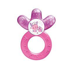 MAM Cooler New, bijtring voor baby's bevordert motoriek en visuele ontwikkeling, verkoelend bijtspeelgoed bereikt ook kiezen, koelbijtring vanaf 4+ maanden, paars/roze