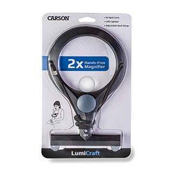 Carson LumiCraft Lupa Manos Libres con Aumento de 2x, Lente Spot de 4x y Luz LED