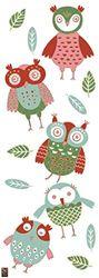 PLAGE decoratieve muursticker uilenkinderen 24 x 68 cm, vinyl, kleurrijk, 68 x 0,1 x 24 cm