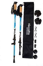 Xtrempro 2 Stück Wanderstöcke / Trekkingstöcke, leicht, 7075 Aluminiumlegierung, schnelle universelle Höhe, Flip-Lock-Griffe, sichere Korkgriffe, gepolsterte Gurte und alle Geländeadapter (blau)