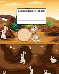 Composition Notebook | Cute RabbitsThemed Wide Ruled Paper Notebook Journal | Wide Blank Lined Workbook for Teens Kids Students for Home School and ... Composition Notebook for School