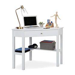 Relaxdays Eckschreibtisch, Ablage & Schublade, platzsparend, Büro, Arbeitszimmer, Landhausstil, HBT: 76x107x72 cm, weiß, 1 Stück