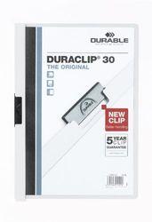 Durable 222702 Klemmap Duraclip, tot 30 vellen A4, zakje 5 stuks, wit