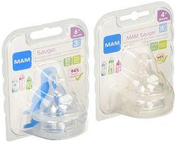 MAM speen maat 3 + 4 in een set van 4, zacht speentje geschikt voor alle MAM-flessen en MAM-Trainer, babyspeen met snelle + druppelvrije doorstroming, vanaf 6+ maanden