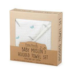 Petite Piccolo 8004 Fe Baby muselina Hooded Juego de toallas de mano, plumas, color blanco