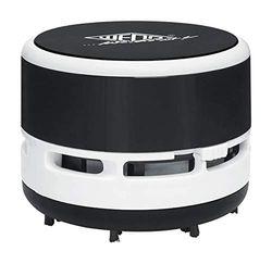 Wedo 20520101 mini tafelstofzuiger, borstels, afschroefbare opvangbak hoogte ca. 6,3 cm, diameter 8,5 cm, incl. batterijen, zwart/wit