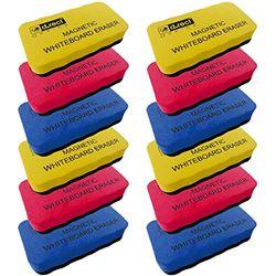 D.RECT Whiteboard Schwamm 12 Stück | EVA Magnetisch Magnettafel Reiniger Löscher Radierer | Wischer mit starkem Magneten für Trockenreinigung Ihres White Boards