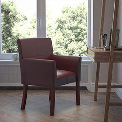 Flash Furniture BT-353-BURG-GG burgunderroter Chefsessel/Empfang-Stuhl aus Leder mit Mahagoni-Beinen