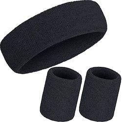 WILLBOND Schweißband-Set, 3-teilig, inkl. Sport-Stirnband und Handgelenk-Schweißbänder aus Baumwolle für sportliche Männer und Frauen, schwarz