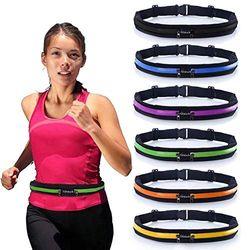 Laufgürtel Slim Taillengürtel mit 2 erweiterbaren Taschen – schweißresistente Läufergürtel Fanny Pack Handytasche Tasche für Wandern, Radfahren, Klettern, Joggen und für 6,5 Zoll Smartphones, Unisex, grün