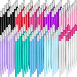 100 Stücke Gummi Nagel Nagelhautschieber Kunststoff Griff Nagelreiniger Nagelkunst Werkzeuge für Männer und Frauen Weihnachten Valentinstag (Klassische Farben)