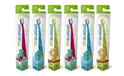 PRESERVE Milieuvriendelijke tandenborstel voor kinderen – handvat 100% van gerecyclede yoghurtglazen – zachte borstelharen – 6 stuks