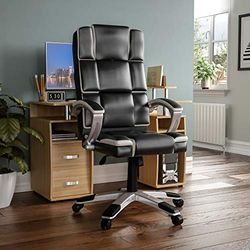 Vida Designs Henderson Chef Büro Computer Sessel Gaming Einstellbar Drehbar PU Kunstleder Schwarz & Weiß