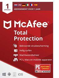 McAfee Total Protection 2021  1 apparaat  1 jaar   antivirussoftware, internetbeveiliging, wachtwoordbeheer, Mobile Security, meerdere apparaten  PC/Mac/Android/iOS  Downloaden