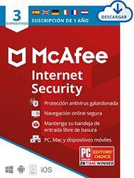 McAfee Internet Security 2021, 3 Dispositivos, 1 Año, Software Antivirus, Manager de Contraseñas, Seguridad Móvil, PC/Mac/Android/iOS, Edición Europea, Código de activación enviado por email