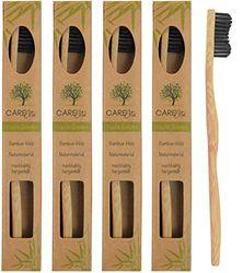 Set van 4 houten tandenborstels van duurzaam bamboehout, BPA-vrije bamboe-houten tandenborstel, plasticvrij verpakte bamboe-tandenborstel tandenborstel met bamboehoutskool voor gezonde en witte tanden