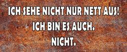 Schatzmix Spruch Ich Sehe Nicht nett aus… Metallschild 27x10 cm Wanddeko tin Sign Blechschild, Blech, Mehrfarbig