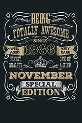 Being Awesome Since November 1966 Vintage 54Th Birthday Gift: Notebook Planner - 6x9 inch Daily Planner Journal, To Do List Notebook, Daily Organizer, 114 Pages