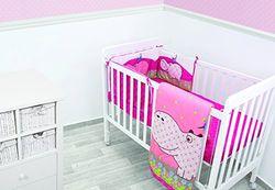 ToTs by Smartrike 240-110 bedset Joy Hippo, bestaande uit deken, quilt, 100 x 120 cm, nestje, 32 x 176 cm, hoeslaken, 140 x 70 cm, roze