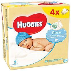 Huggies Pure Quattro reinigingsdoekjes, 4 verpakkingen met elk 56 stuks - 2 stuks