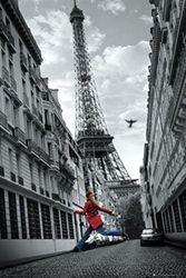 1art1 49300 Paris - Eiffeltoren, meisjes met rode jas, poster 91 x 61 cm