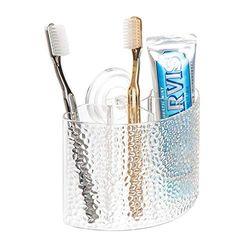 iDesign Rain tandenborstelhouder met zuignap, wandhouder met 4 vakken van kunststof, doorzichtig