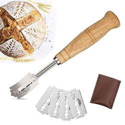 Premium handgefertigter Brot-Lamme mit 5 Klingen zum einfachen Ritzen von Sauerteig – Teigherstellung für Brotbacker – Super scharfe und langlebige Rasierer mit Schutzhülle aus echtem Leder