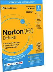 Norton 360 Deluxe 2021, antivirussoftware, internetbeveiliging, 3 Apparaten, 1 Jaar abonnement met automatische verlenging, Secure VPN en Password Manager, PCs, Macs, tablets en smartphones, envelop