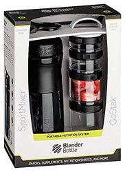 BlenderBottle Combo Pak - Sportmixer Shaker 820 ml inhoud en GoStak Starter 4Pak met handvat in een aantrekkelijke geschenkverpakking, zwart