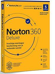 Norton 360 Deluxe 2021, antivirussoftware, internetbeveiliging, 5 Apparaten, 1 Jaar, Secure VPN en Password Manager, PCs, Macs, tablets en smartphones, envelop, past in de brievenbus