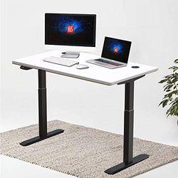 Hi5 Elektrisch Höhenverstellbarer Schreibtisch mit Rechteckiger Tischplatte (120x60cm) und Memory-Steuerung für Gaming Tisch Home Office Workstation (Schwarz Gestell/Weiß Tischplatte)