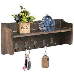 Rustikale Schlüsselhaken mit Ablage Wandmontage, Holzregal mit 7 Vintage Metallhaken, Wandmontage, Schlüsselbrett und Schweberegal, dunkles Nussbaum