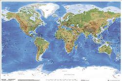 Empire 79862 Landkaarten - World Terrain Map - Poster Print - 91,5 x 61 cm