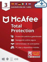 McAfee Total Protection 2021, 1 Año, Seguridad de Internet, Manager de Contraseñas, Seguridad Móvil, Descargable   3 Dispositivos   PC/Mac   Código de activación enviado por email