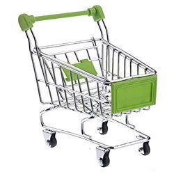 LURROSE Mini-Einkaufswagen für Schreibtisch-Organizer, Supermarkt, Handwagen, Einkaufswagen, Aufbewahrung, Spielzeug (grün)