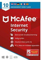 McAfee Internet Security 2021  10 apparaten  1 jaar   antivirussoftware, internetbeveiliging, wachtwoordbeheer, Mobile Security, meerdere apparaten PC/Mac/Android/iOS  Post