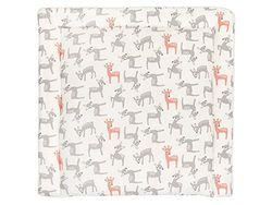 KraftKids BUB112-60 aankleedkussen in kleine herten grijs-oranje op wit, aankleedmat 60 x 70 cm (BxD), wikkelkussen, meerkleurig, 640 g