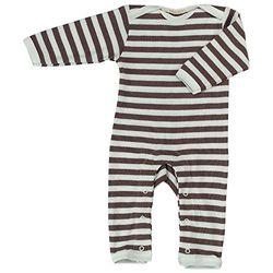 Pigeon-organics For Kids rompler Pyjama Romper lang strepen bruin 12-18 m