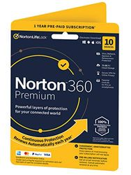 Norton 360 Premium 2020, Antivirus software for 10 Devices and 1-year subscription with automatic renewal, Includes Secure VPN and Password Manager Premium 1 1 Year PC Download