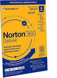 Norton 360 Deluxe 2021, antivirussoftware, internetbeveiliging, 5 Apparaten, 1 Jaar abonnement met automatische verlenging, Secure VPN en Password Manager, PCs, Macs, tablets en smartphones