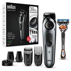Braun BT7240 Herren-Barttrimmer und Haarschneider, 39 Längeneinstellungen, schwarz/grau-metallic