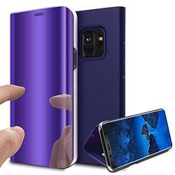 Kompatibel mit Galaxy S9 Plus Hülle,Galaxy S9 Plus Schutzhülle,Überzug Spiegel Handyhülle Flip PU Lederhülle Hülle im Ständer Cover Hart PC Schutzhülle Tasche Case für Galaxy S9 Plus,Dunkel Blau