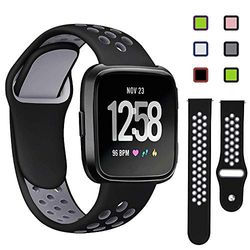 KAEHA FBACHA-42 Sport-Armband, kompatibel mit Fitbit Versa Lite, weich und atmungsaktiv, aus Silikon Asche und Schwarz (groß), Unisex