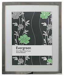 Evergreen Marco Chapado en Plata Resistente al deslustre con diseño Moderno Plano – con Soporte extraíble para sostener Fotos de 22,86 x 17,78 cm o 12,7 x 17,78 cm