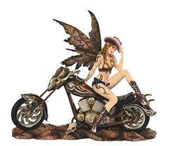 Major-Q G8091647 Dekofigur Cowgirl Fee auf Motorrad, Polyresin