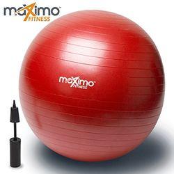 Gymnastikball mit Handpumpe von Maximo Fitness | Hervorragende Qualität | Ideal für Stabilitätstraining, Rumpf- und Gleichgewichtsübungen, Pilates, CrossFit | Platzsicher | Rutschfestes Kunststoffmaterial | 65 cm. (Red)