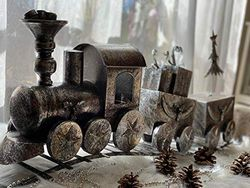 "Starke E-10988 Dekofigur ""Weihnachtszug"", Metall, Maße: 87x39 cm"